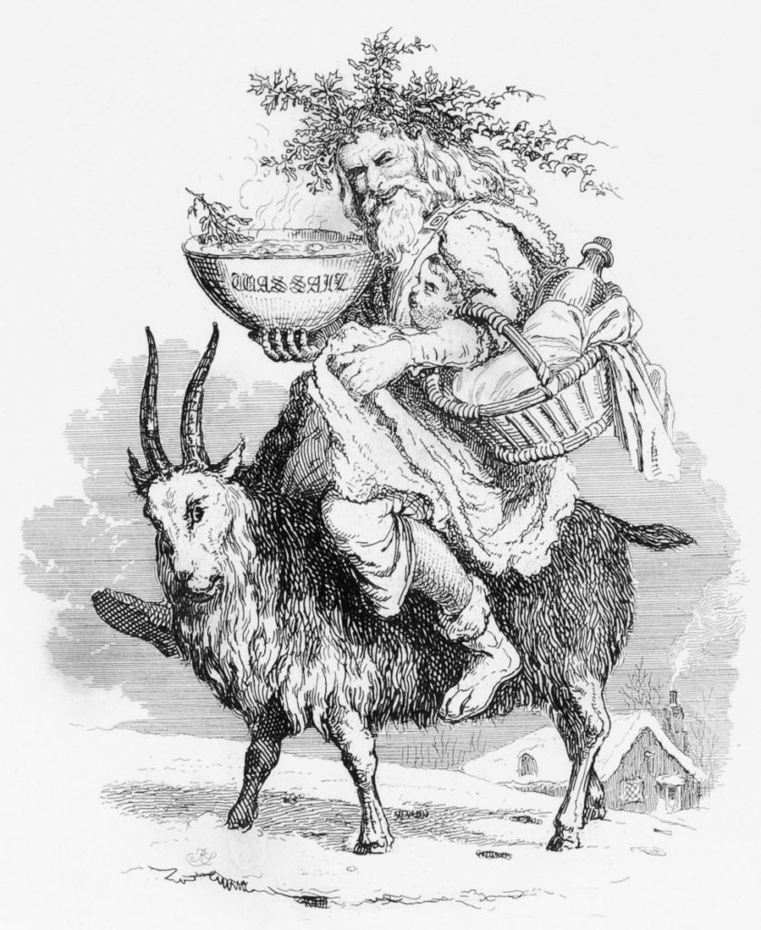 Old Father Christmas riding a Yule Goat